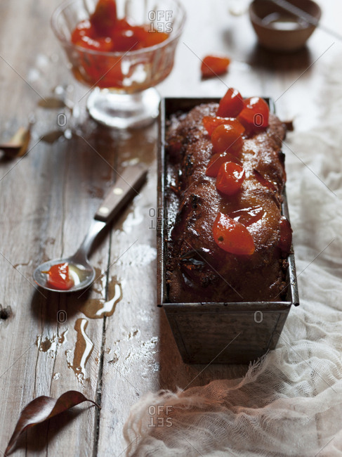 Loaf of cake with fruit