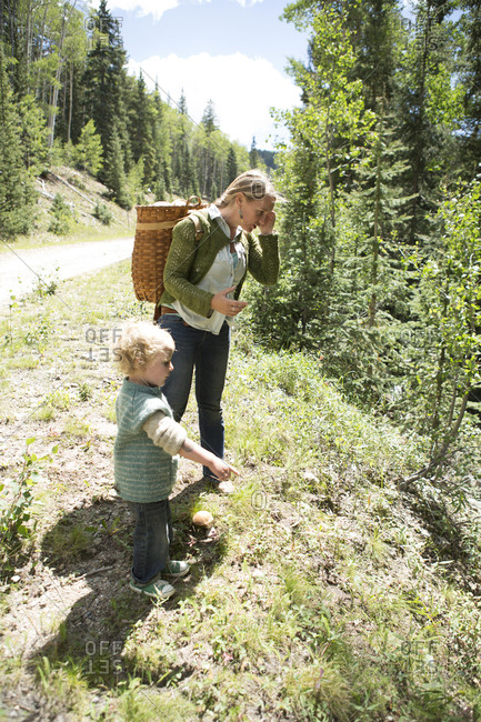 Mother and son exploring on forest hillside