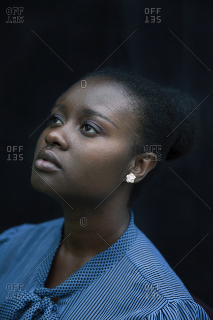 Close up of Black woman looking up