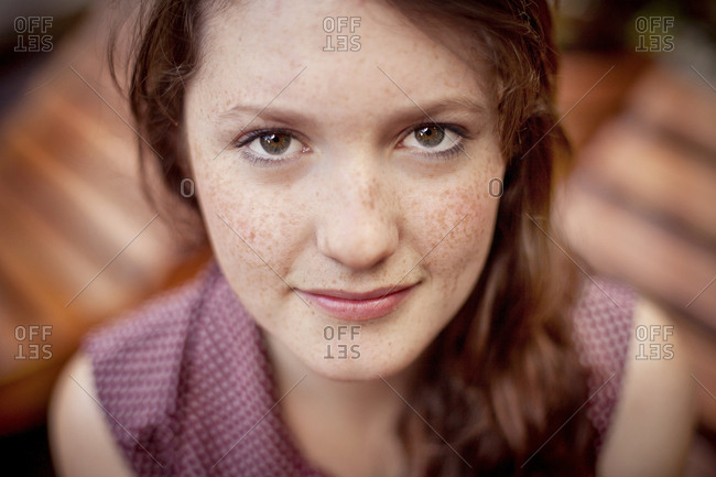 Close up of serious teenage girl