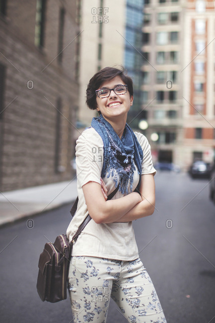 Caucasian woman walking in city