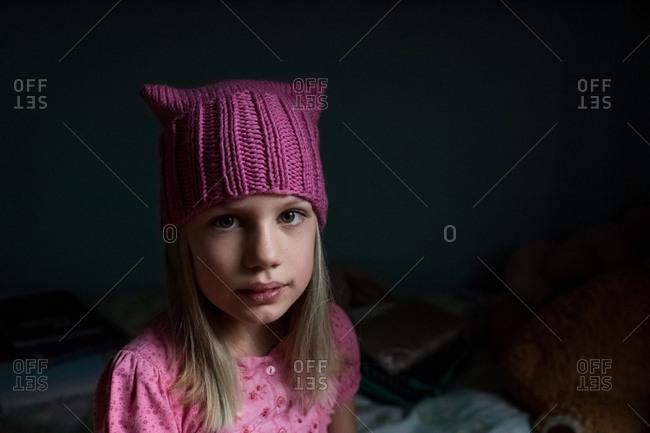 Little girl wearing a pussy hat