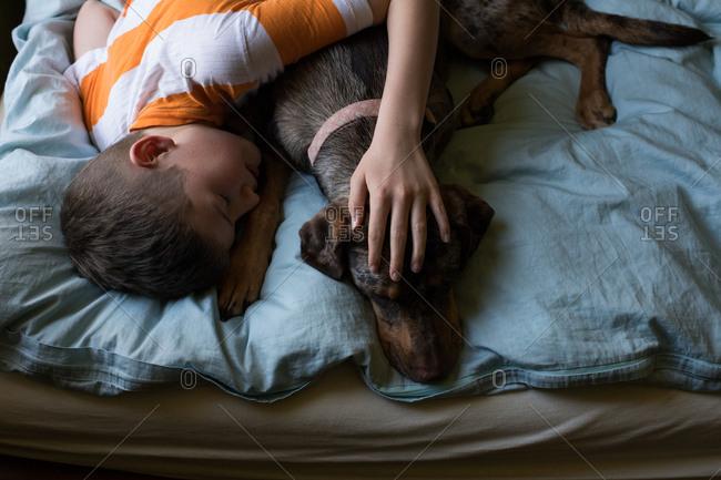 Boy cuddling with dog in bed
