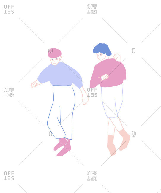 Two people dancing side by side