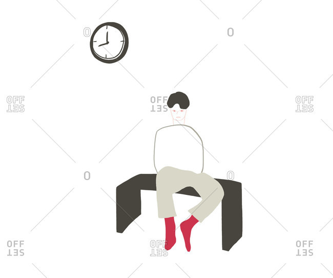 Person sitting on a bench with clock on wall above
