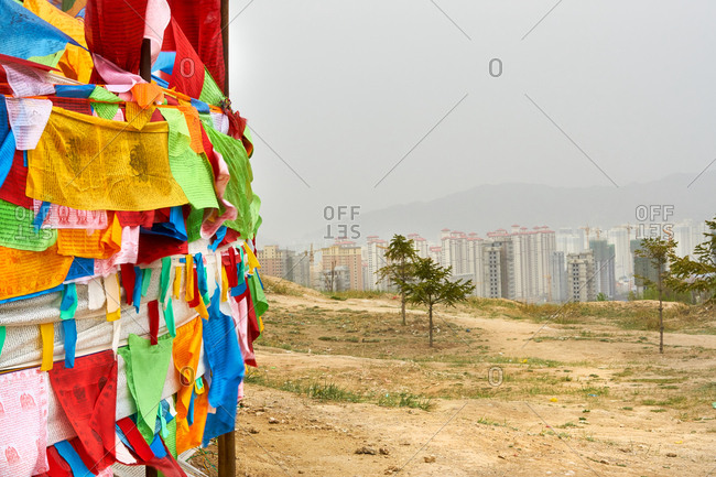 Tibetian Buddhist prayer flags, in Nanshan park, Xinging, Qinghai, China