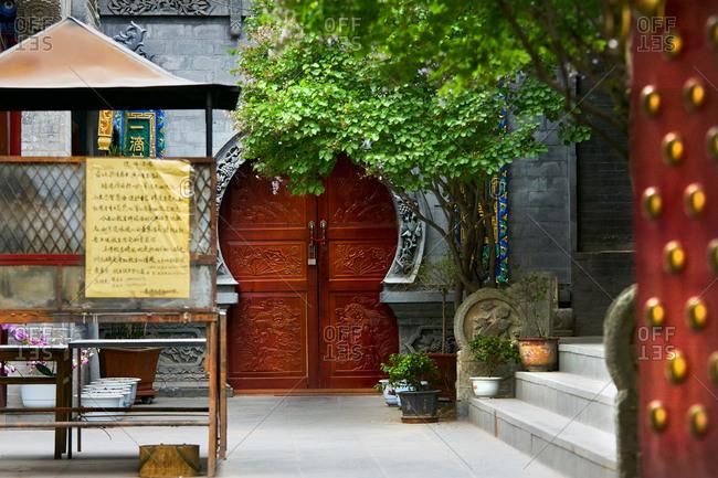 Keyhole doorway, South Xining buddhist temple, Xining, Qinghai, China