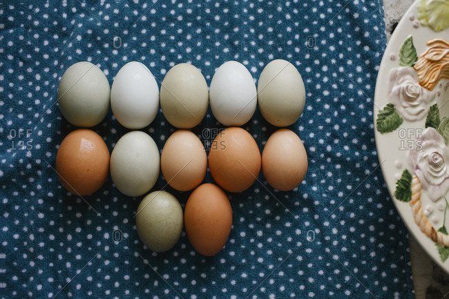 Multi-colored fresh eggs lined up after cleaning on a polkadot towel