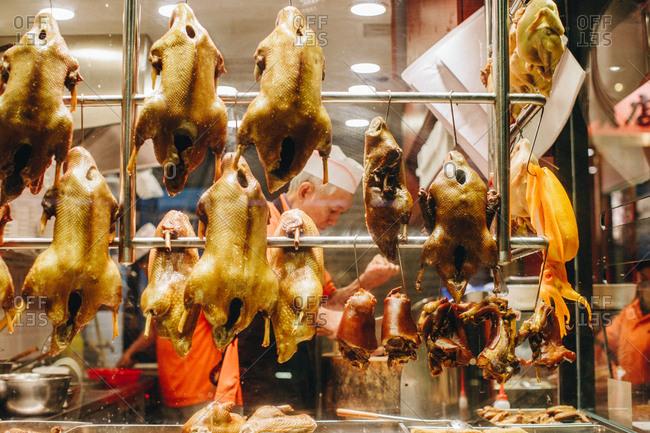 January 24, 2017 - Hong Kong: Roast Duck street food stall in Kowloon area