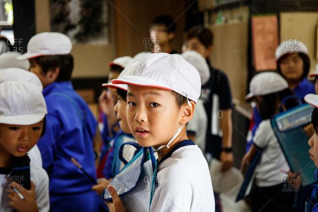 October 5, 2016 - Hokuriku, Japan: School children in a paper-making factory