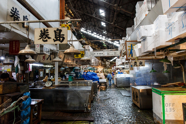 September 26, 2016 - Tokyo, Japan: Closed stalls at the Tsujiki Fish Market