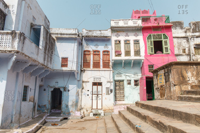 November 12, 2015 - Pushkar, India: Colorful row houses