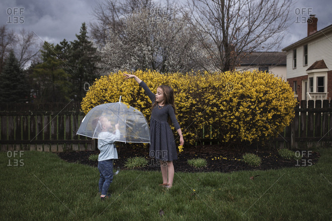 Siblings playing with umbrella in garden during spring
