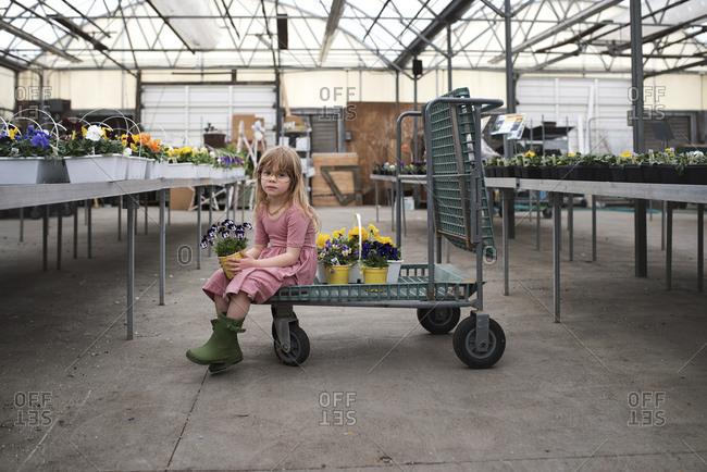 Girl holding pot of flowers in garden center