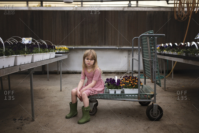 Young girl in glasses sitting on cart in garden center