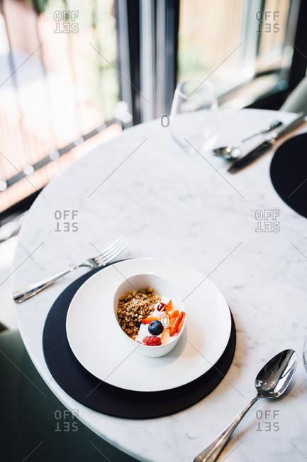 Granola on table in restaurant