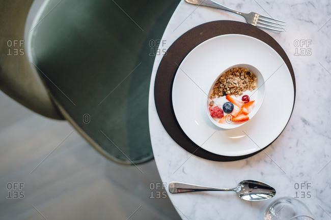Granola breakfast in a bowl