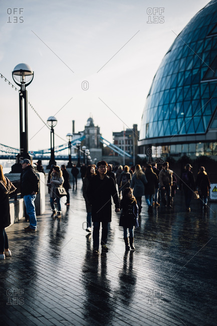 London, England - November 26, 2016: People by City Hall
