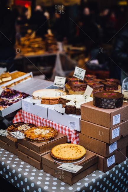 London, England - November 26, 2016: Pies at an outdoor market