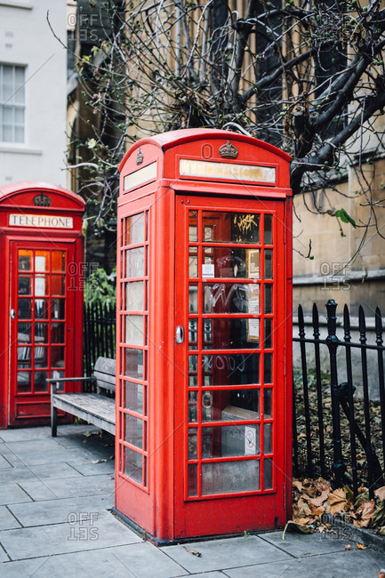 Red telephone boxes in street