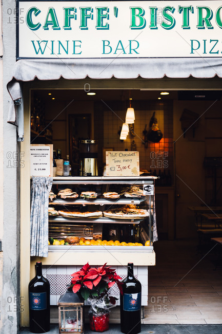 Florence, Italy - February 4, 2017: A counter outside restaurant
