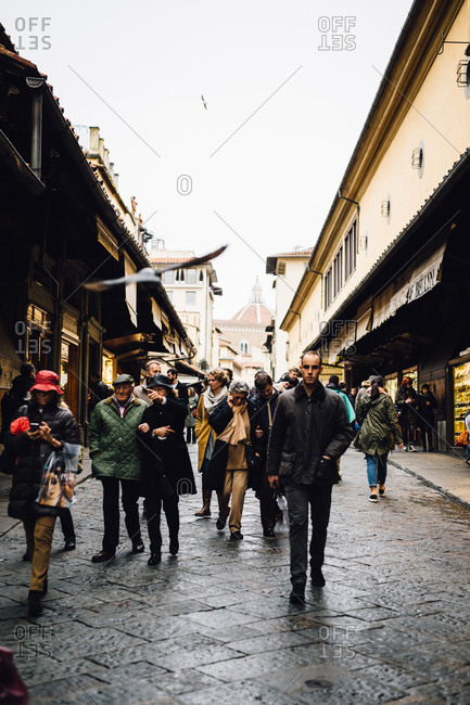 Florence, Italy - February 4, 2017: People in commercial street, Florence, Italy