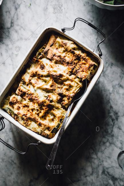 A baked lasagna in pan