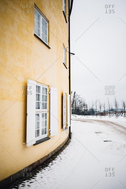 Wall of Danish army academy building, Denmark