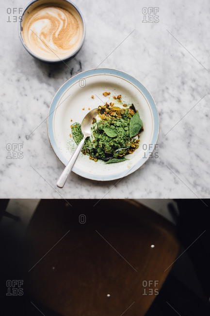 Salad with a coffee