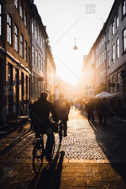 Copenhagen, Denmark - February 10, 2017: People in street in sunlight