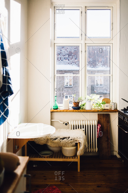 Copenhagen, Denmark - February 11, 2017: Small kitchen interior