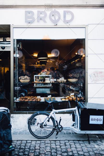 Copenhagen, Denmark - February 12, 2017: Delivery bike by a bakery