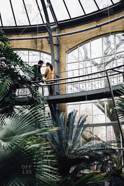 Amsterdam, Netherlands - February 26, 2017: People in a botanical greenhouse