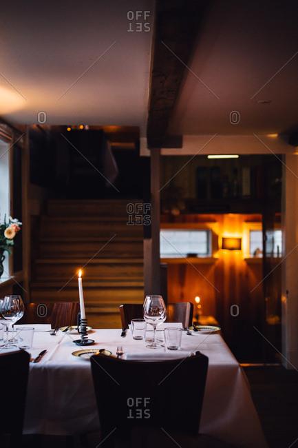 Candlelit restaurant table