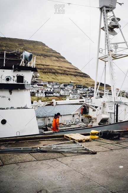 Faroe Islands, Denmark - March 10, 2017: Ferry boat at shore
