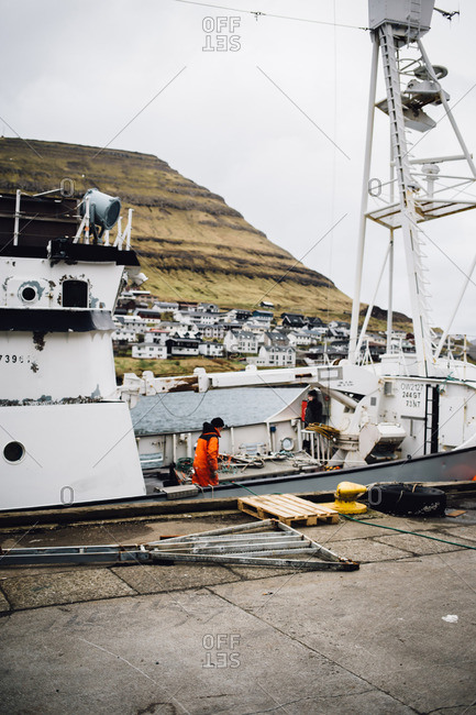Faroe Islands, Denmark - March 10, 2017: Ferry boat at shore