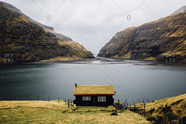 Grass roof house in Faroe Islands