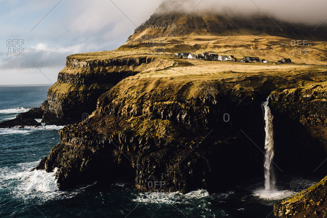 Waterfalls into the sea, Faroe Islands