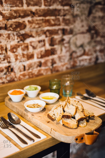 Bread with dipping sauces