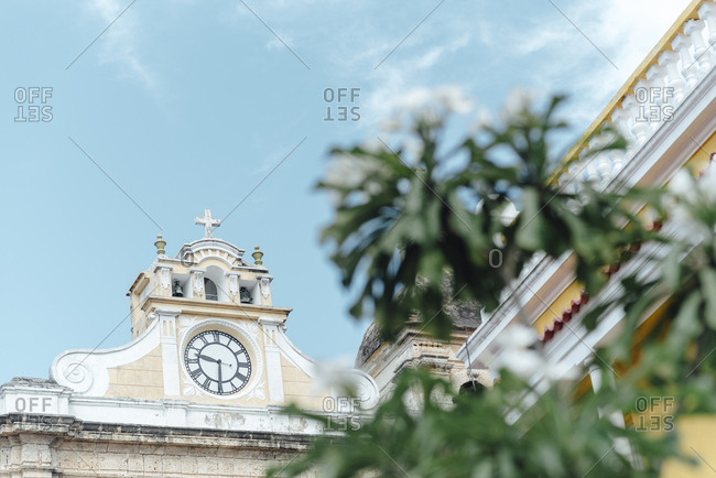Cathedral clock view in the walled city of Cartagena de Indias, Colombia
