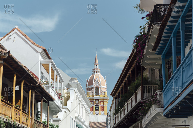 Main street of the walled city of Cartagena de Indias close to a church in Cartagena de Indias, Colombia