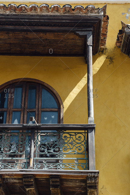 Colonial balcony in the walled city of Cartagena de Indias, Colombia