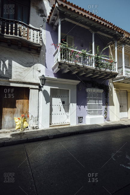 Colonial balcony in the walled city of Cartagena de Indias, Colombia