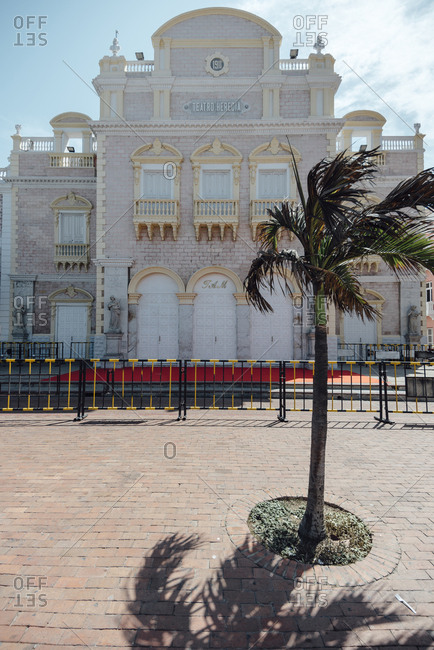 Front view of Heredia Theater in the walled city of Cartagena de Indias, Colombia