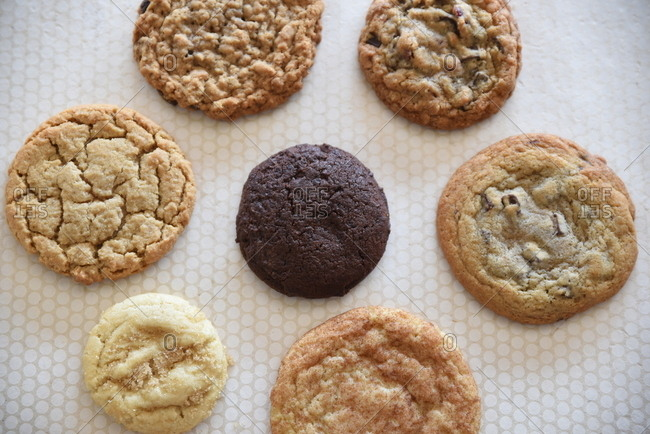 Variety of fresh-baked cookies in a circle