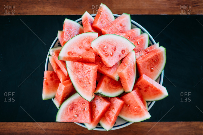Plate full of freshly sliced watermelon