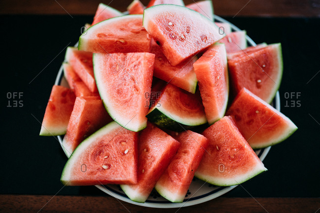 Plate full of fresh watermelon slices