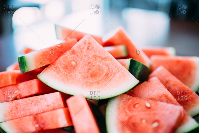 Many slices of fresh watermelon