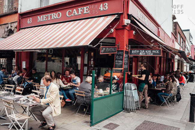 Dublin, Ireland - June 29, 2013: People in outdoor caf� seating