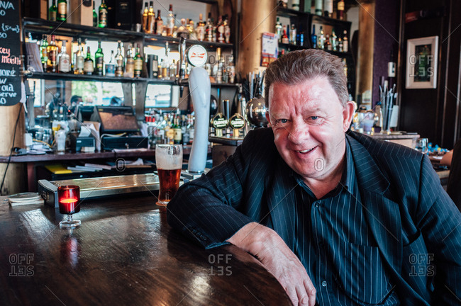 Dublin, Ireland - June 29, 2013: Man in a bar